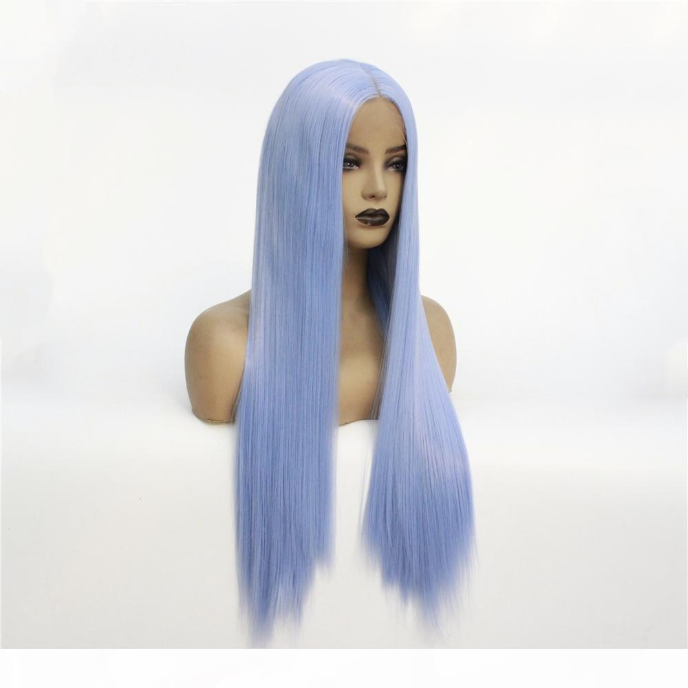 Lace Blue Light anteriore parrucche per le donne sintetico lungo rettilineo parrucche di separazione centrali fibra termoresistente di sguardo naturale 13x4