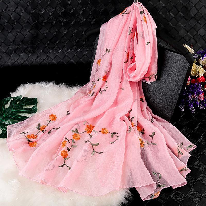 Mousseline de soie Femme Broderie National Style National Silk Silk Tourisme Tourisme Soleil Soleil Echarpe brodée polyvalente