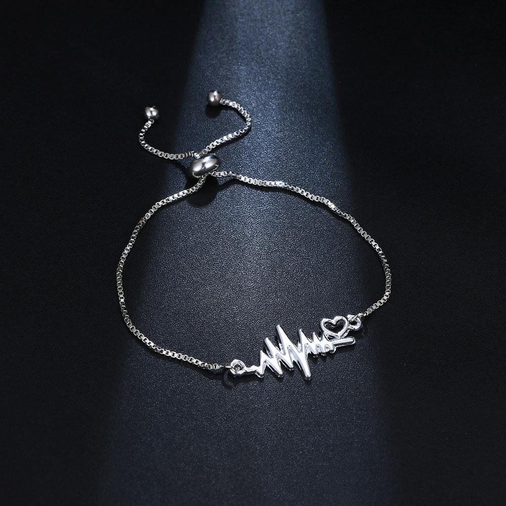 Novos pulseras mujer na moda cor de prata onda de onda charme pulseiras para mulheres coração ajustável pulseira jóias presente
