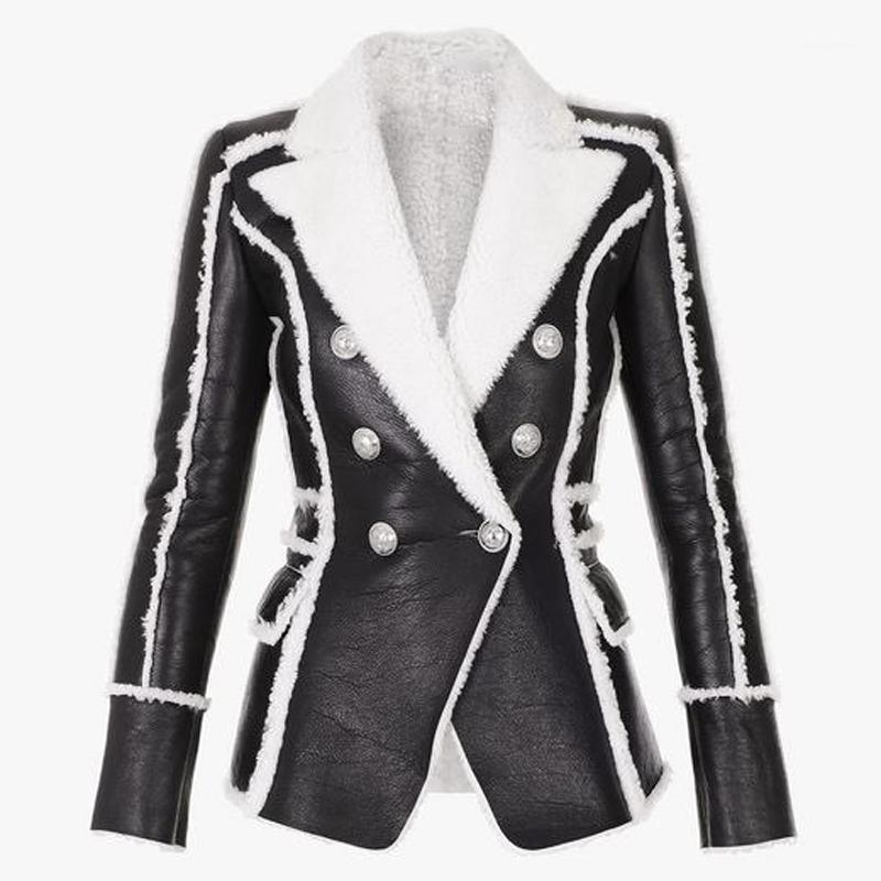 EXCELLENT QUALITY 2020 Stylish Designer Winter Blazer for Women Lion Buttons Artificial Fur Leather Jacket Blazer1