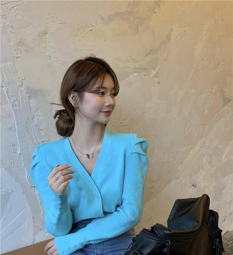 2020 neue europäische mode frauen massiv farbe see blau farbe puff hülse v-ausschnitt gestrickte zweireihige pullover cardigan mantel casacos