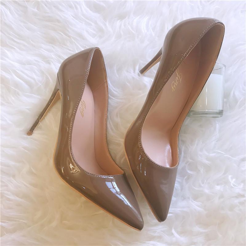 von freien verschiffen mode frauen khaki leder-getränkte sexy dame bikini pointy high heels größe33-43 12 10 8 cm Party Schuhe f5pb