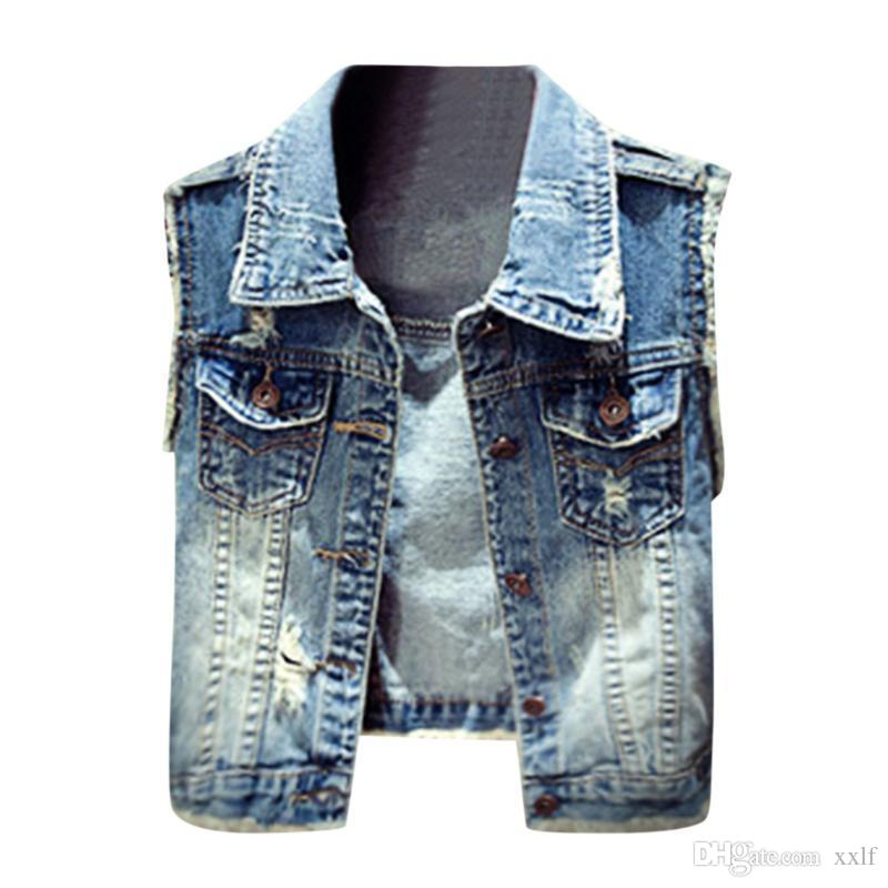 Frauen Denim Weste Frühling Herbst Retro Cowboy Taschen Kurze ärmellose weibliche beiläufige Jeanjacke Slim Outwear KG-109