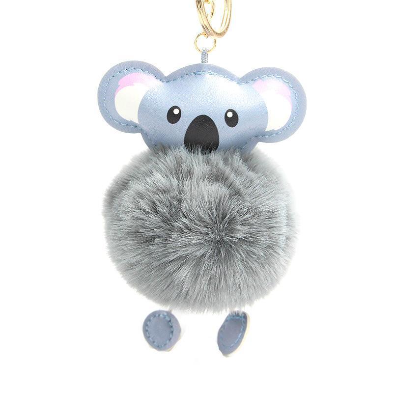 Niedliche Pelzkugel Koala Keychain Pom Pom Schlüsselanhänger Handtasche Geldbörse Flauschige Schlüssel Ring Tasche Auto Halter Porte Clef Llaveros Für Mädchen