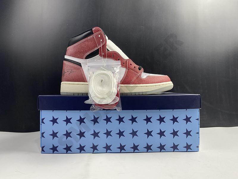2021 1 1s Trophy Room Chicago in cristallo inferiore rosso bianco jumpman designer alto pallacanestro scarpe da basket con scatola OG Uomo Athletic Sneakers DA2728-100