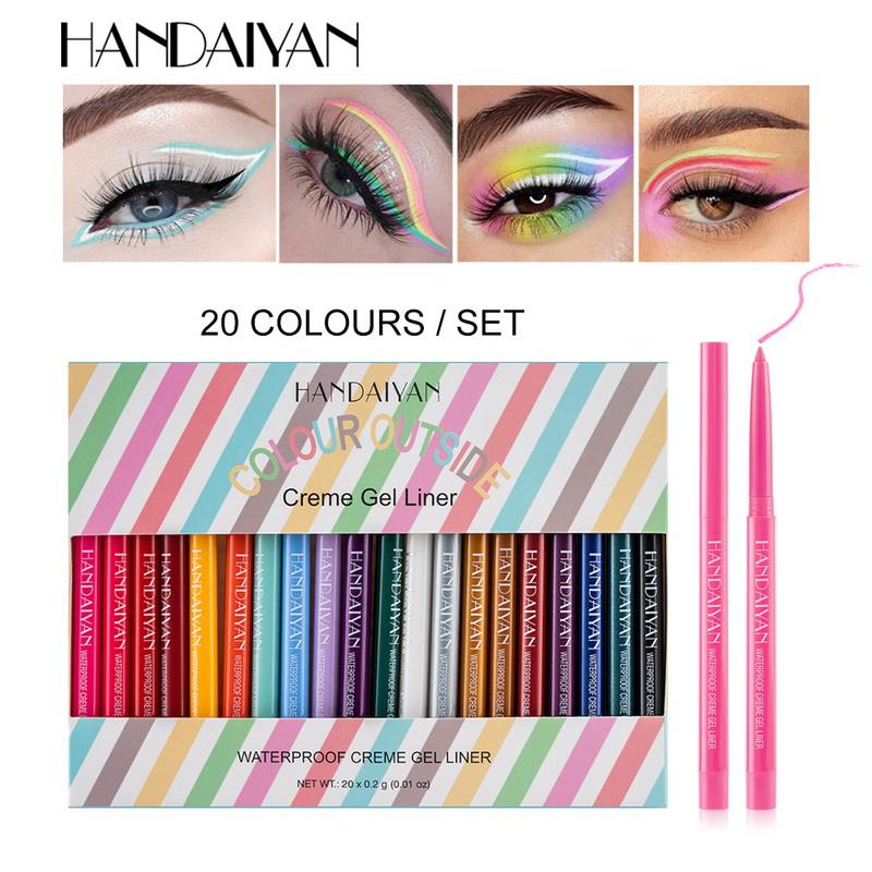 Handaiyan 20 색 자동 아이 라이너 펜 세트 아이 라이너 연필 방수 회전 크림 젤 라이너 높은 안료 장기 지속 메이크업 컬러 펜