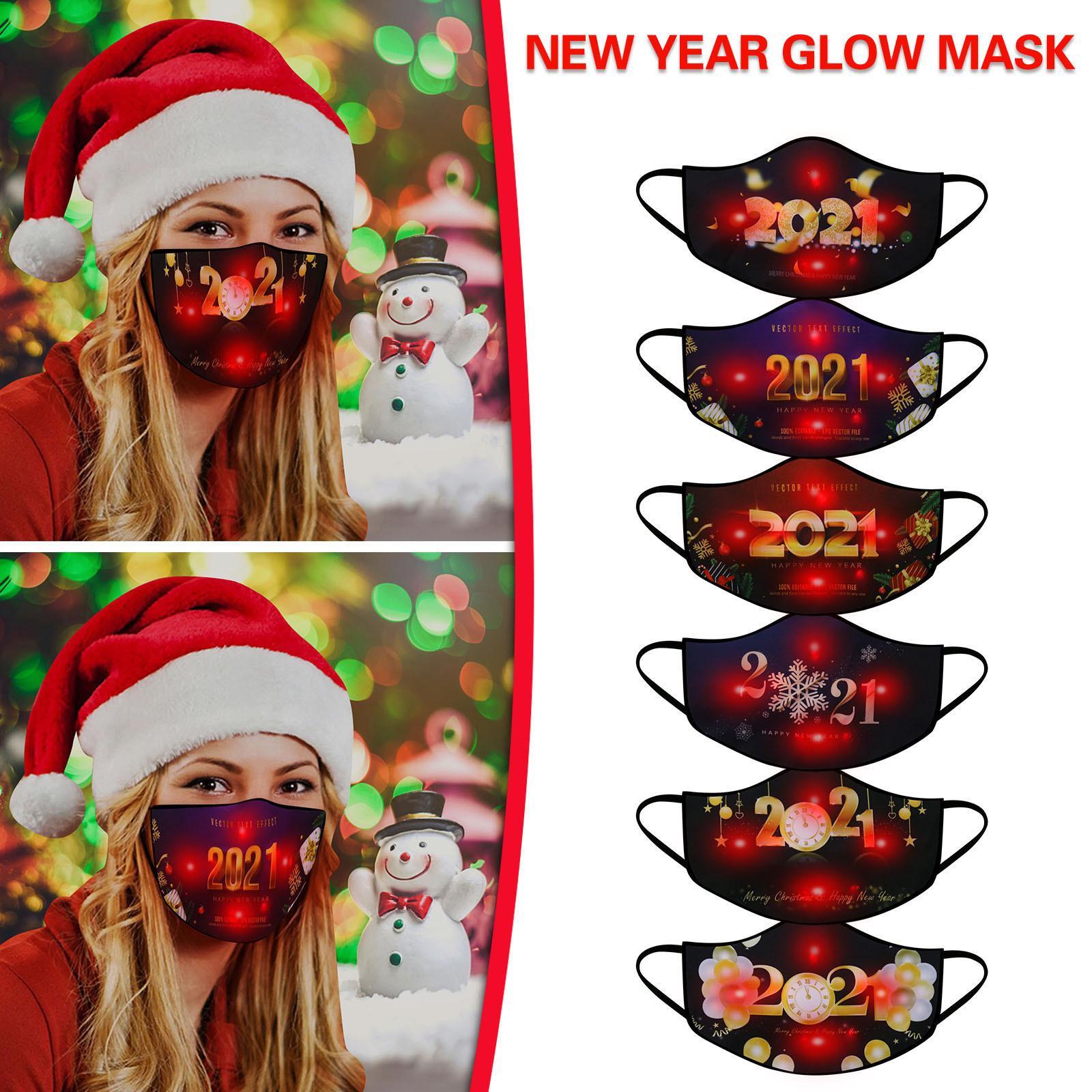 Máscara luminosa 7 cores mudando a máscara facial do diodo emissor de luz do diodo emissor de luz para 2021 máscaras adultas do máscaras do ano novo