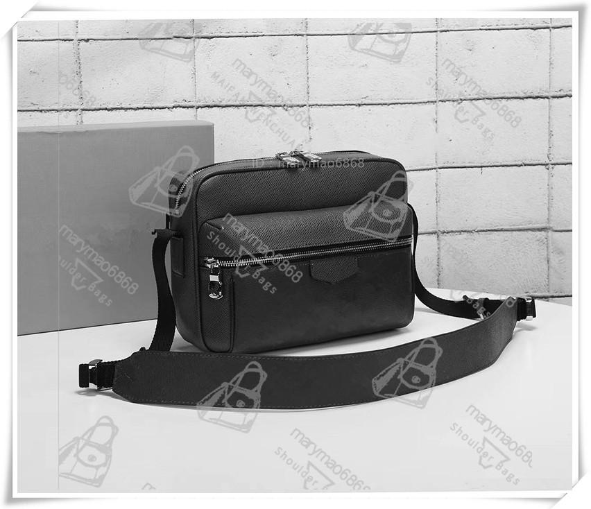 Hombres de cuero genuino de alta calidad Messenger Bolsos de hombros Bolso Hombre Mochila Viaje Postman Crossbody Moda Fashion Fannypack con bolsa de papel