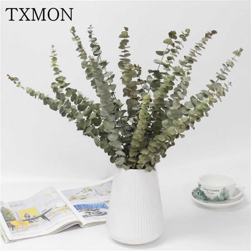 Único ramo natural secado eucalipto secado flor simulação buquê casa sala de estar casamento decoração literária flores de presente1