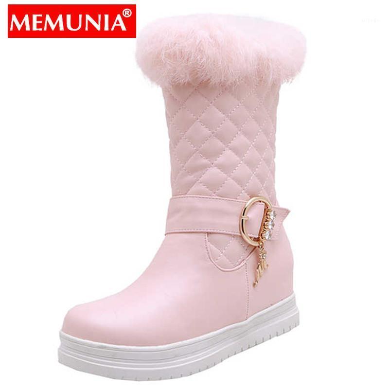 Memunia 2020 Nuovo inverno Stivali da neve da donna Tondo rotondo Slip on Ladies Mid Calf Boots Altezza Agrandando Faux Fur Ladies1