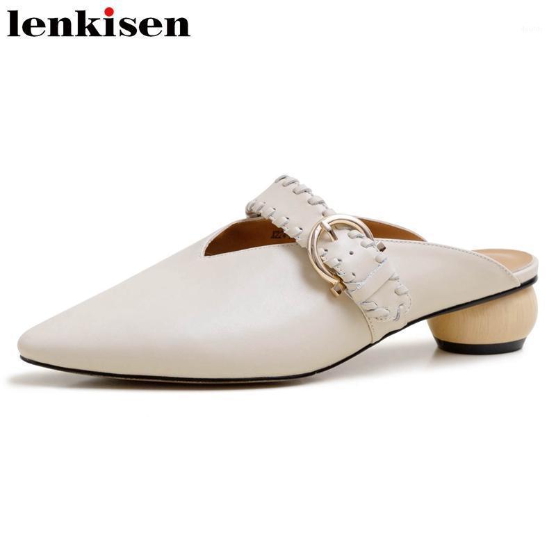 Lenkisen Simple Style Simple Haute Qualité Madmade Métal Fixations En Cuir Véritable Toe Med Med Med Strange Heels Mules Slip sur Pompes L241