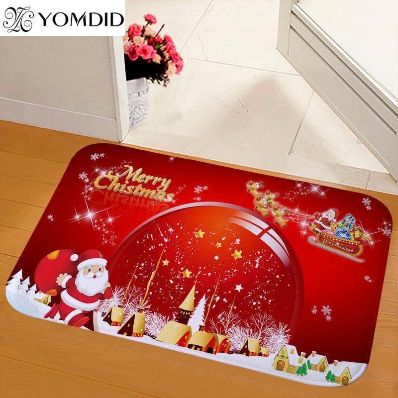 Yomdid 1 шт. Счастливого Рождества Думаты Ковер против скольжения Санта Печатная Фланель Домашняя Ванная комната Дверь Коврик Рождественские Украшения для Home1