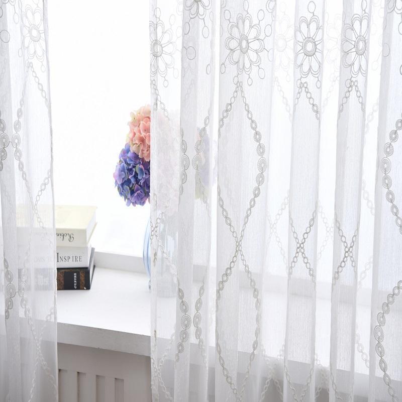 Decorative Flower Rod Bolso Bedroom Cortina Bordado Voile Cortina Sheer para sala de estar Tulle Tecidos Cozinha