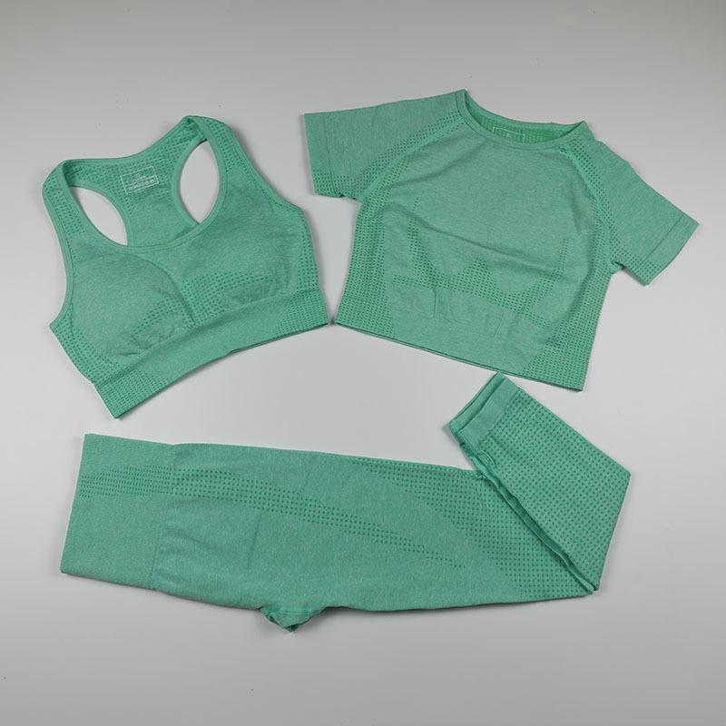 Одежда для тренировки Одежда женщин спортивный бюстгальтер + короткий рукав урождал верхние рубашки + бесшовные леггинсы 3 шт. Спортивная одежда женская тренажерная спортивная одежда йога набор 201113