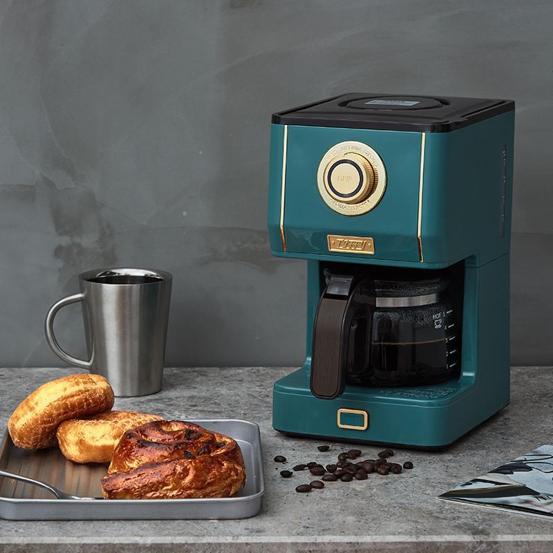 JRM0219 Ретро американская кофемашина бытовой эспрессо электрический капельница из кофеварки темно-зеленый латте моча горшок