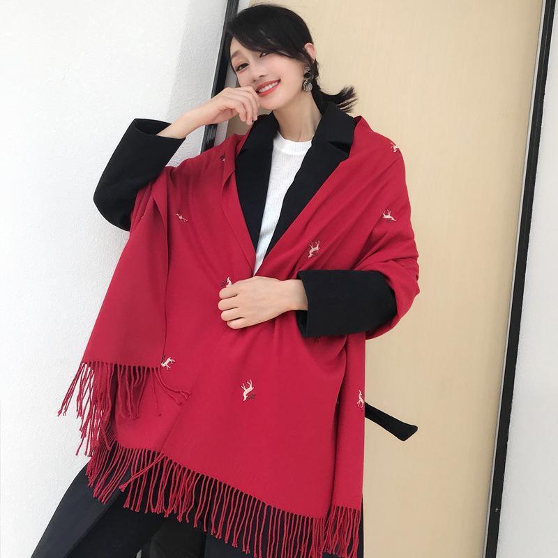 Шарфы 2021 Прибытие Мода осень зима женщин удобный сладкий шарф мягкое высокое качество открытый вышивка свежая милая теплая шаль