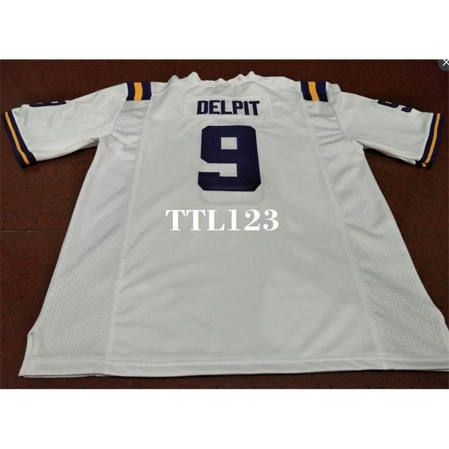 Männer # 9 Grant Delpit Weiße Purple Derrius Guice LSU Tiger oder benutzerdefinierte Name oder Nummer Alumni College Jersey