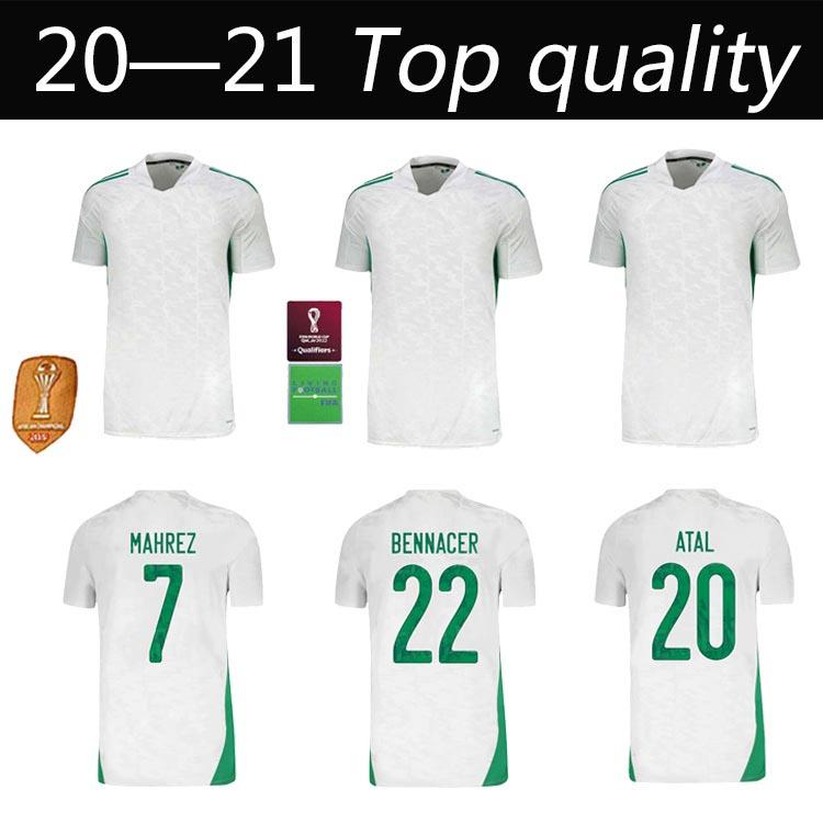 Maillot Algerie 2020 2021 Jersey de fútbol Home Away Mahrez Bounedjah Feghouli Bennacer Atal 20 21 Argelia Maillot de Pie