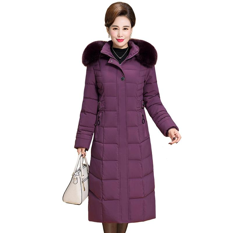 New Plus Size 6XL Winter Jacket Women Hooded Fur Collar X-long Thicken Middle-aged Womens Winter Coats Cotton Long Parkas 201211
