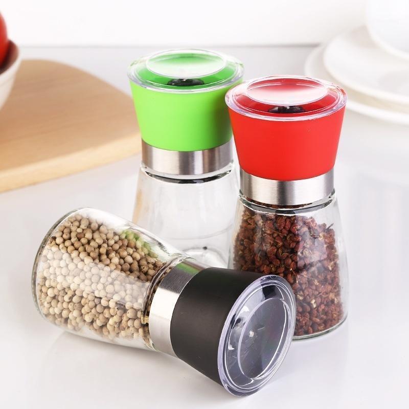 العلامة التجارية الجديدة نمط الإبداعية المقاوم للصدأ مطحنة الملح الفلفل diy دليل زجاجة طاحونة زجاج المطبخ أداة الفلفل طاحونة زجاجة 1
