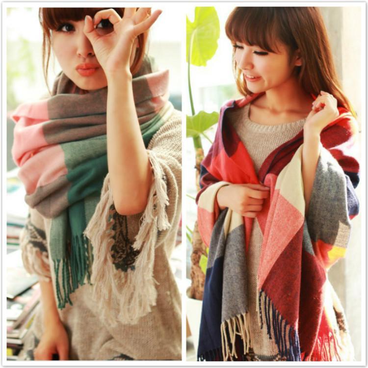 Bufanda femenina otoño e invierno versión coreana engrosada cálida larga guapa chal para estudiantes de doble propósito pareja versátil lana cuello