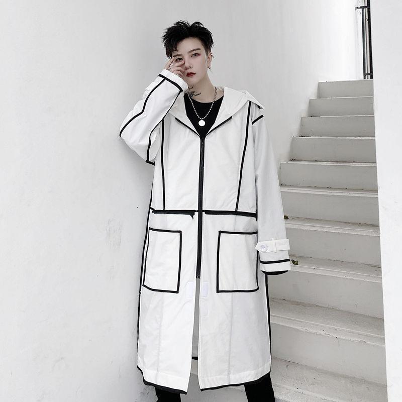 EWQ / Vêtements pour hommes Manteau de coupe-vent mi-longueur 2020 Automne-Couleur Ourk Différent-Couleur imprimé surdimensionné long trech manteau 9Y3819