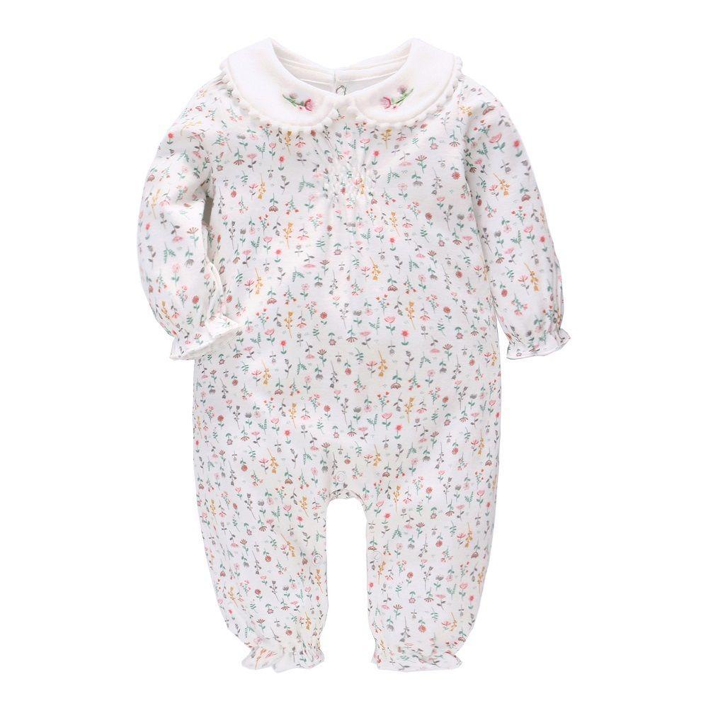 Vlinder Baby Girl Одежда девушка Rompers Весна Осень Новая Одежда Новорожденная Чистая Хлопок Цветочная Печатная Грузные Производители Младенческие Rompers 6M ~ 24M 201127