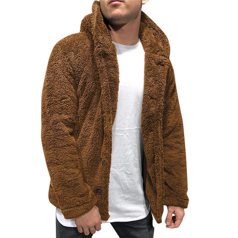 Vestes pour hommes Boutons Hommes Buttons Manteau chaud Faux Fourrure Hiver Casual Double face à capuche en peluche de pelouse fluffeuse Veste à capuche à capuche