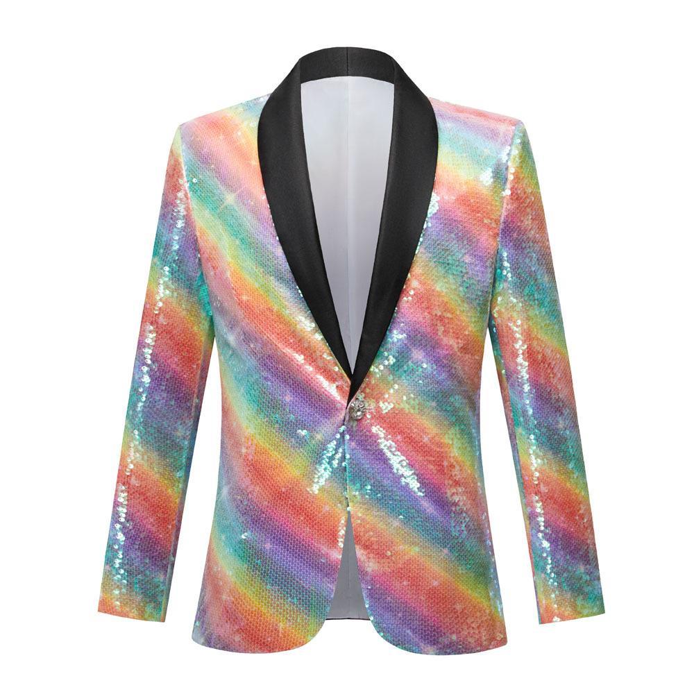 Blazers à paillettes multicolores de mode Homme Singer House Hôte Soirée Soirée Performance Suit Jacket Jacket Costume de paillettes Glitter Bar