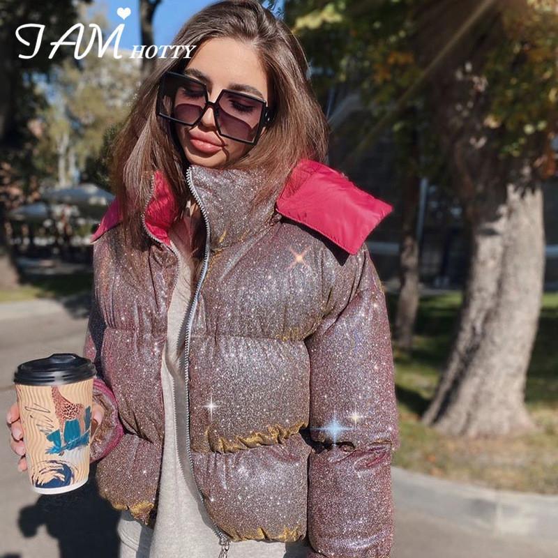 Paillettes épaisses paillettes paillettes Fashion Women's Parka Winter 2020 élégant veste de gonflure chaude survient de manteaux à bulles matelassés rougeoyants iamhotty