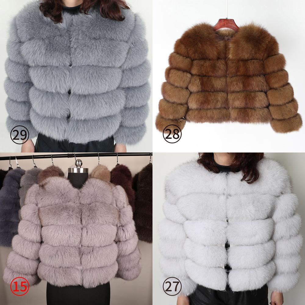 Maomaokong 50cm Natural Real Fox Four Alowomen Winter Natural Piel Chaleco Jacket Moda Silm Outwear Real Fox Piel Chaleco abrigo Foxx1019