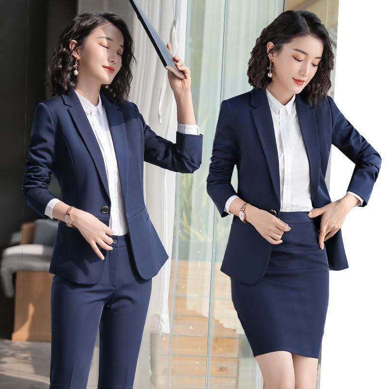 Professionelle Frauen Herbst und Winter Neue Mode Temperament Anzug Kleid Formale Stewardess Uniform Rezeption Arbeitskleidung