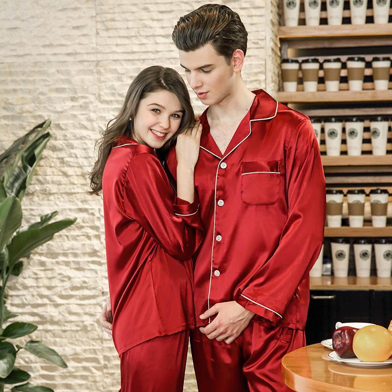 Women's Sleepwear Burgundy Couple Spring Autumn Pajamas Suit Soft Long Sleeve Set 2PCS Shirt&Pant Solid Color Casual Homewear