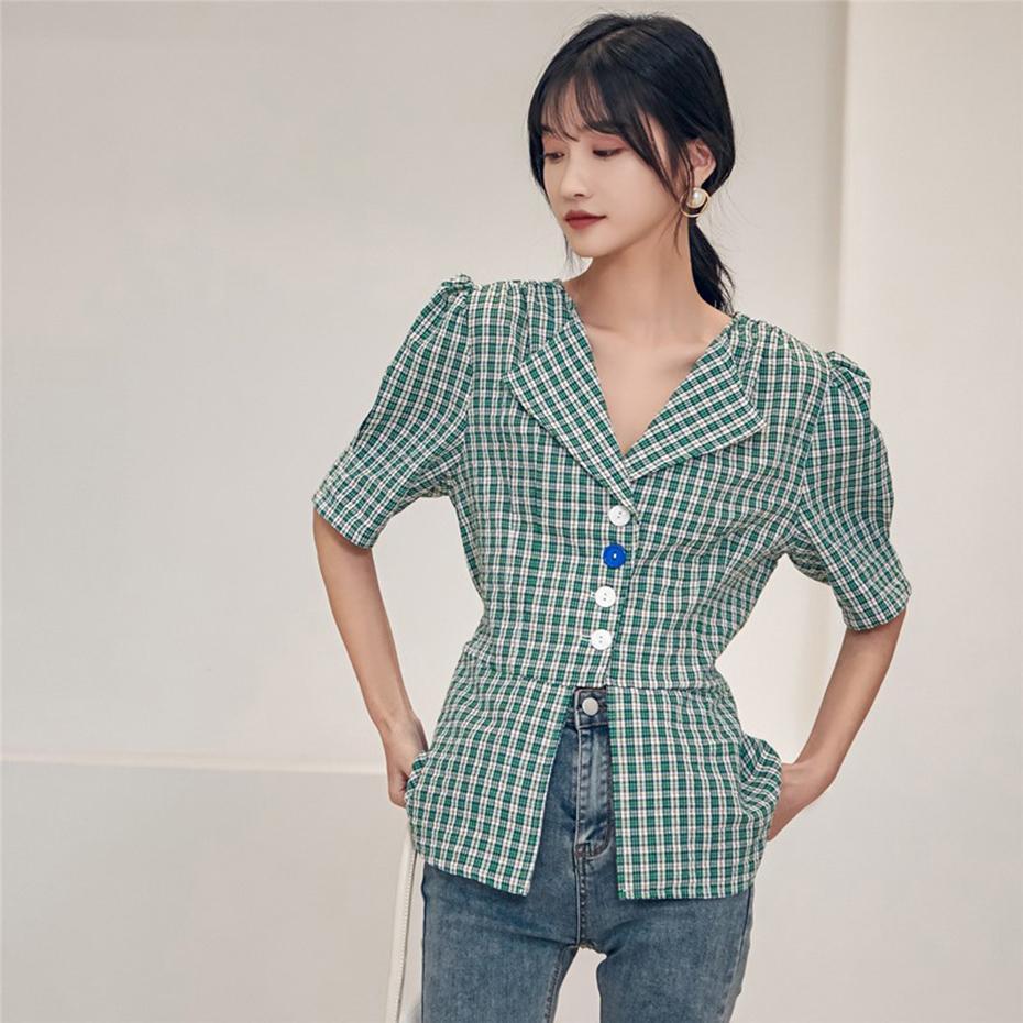 Aushöhlen, schicke breit-Schulter-Bubble-Hülse-Plaid-Hemd weibliche Sommer 2020 Retro Plaid Single-Breated Bluse-weibliche Plus-Größe F1211