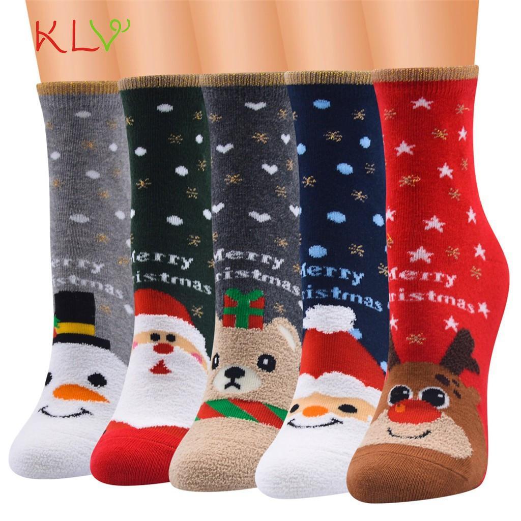 Рождественские женщины мужчины с новым годом забавные печатные мультфильм носки милые каваи хараджуку калькутины де ла Мюджер рождественские акции