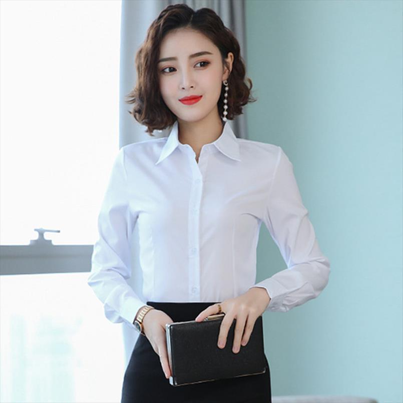 Chemises coréennes Chemises Coton Femmes à manches longues Chemises OL BLANCHE TOPS PLUS Taille Femme Basic Blouses Blusas Mujer de Moda 2020