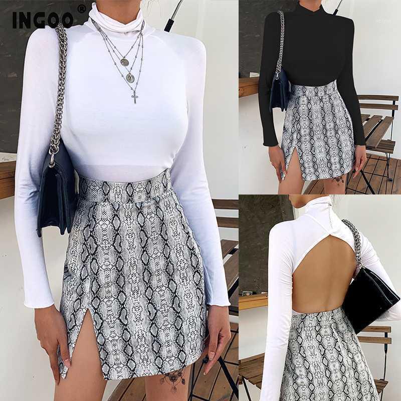 Ingoo Turtleneck Без спинки тонкие женщины топ сексуальные моды с длинным рукавом женская футболка весна BodyCon Pure Color Lady Tops Streetwear1
