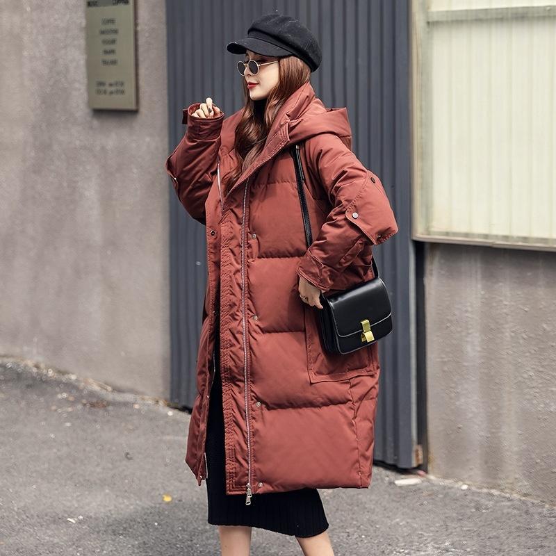 Aecb новый реальный енотный воротник шерсть женщины039; одежда длинная густая теплое пальто женская зима