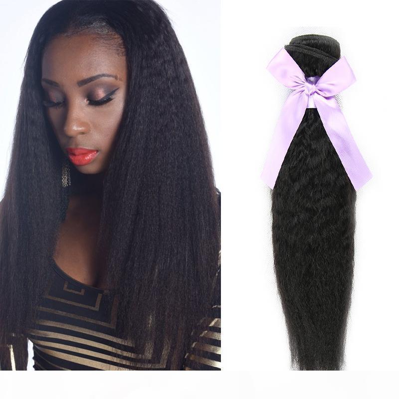 Kinky Droit Brésilien Vierge Vierge Cheveux Humains Fouets Couleur Naturelle Couleur Coiffe Yaki Tissu Produits vierges non transformés