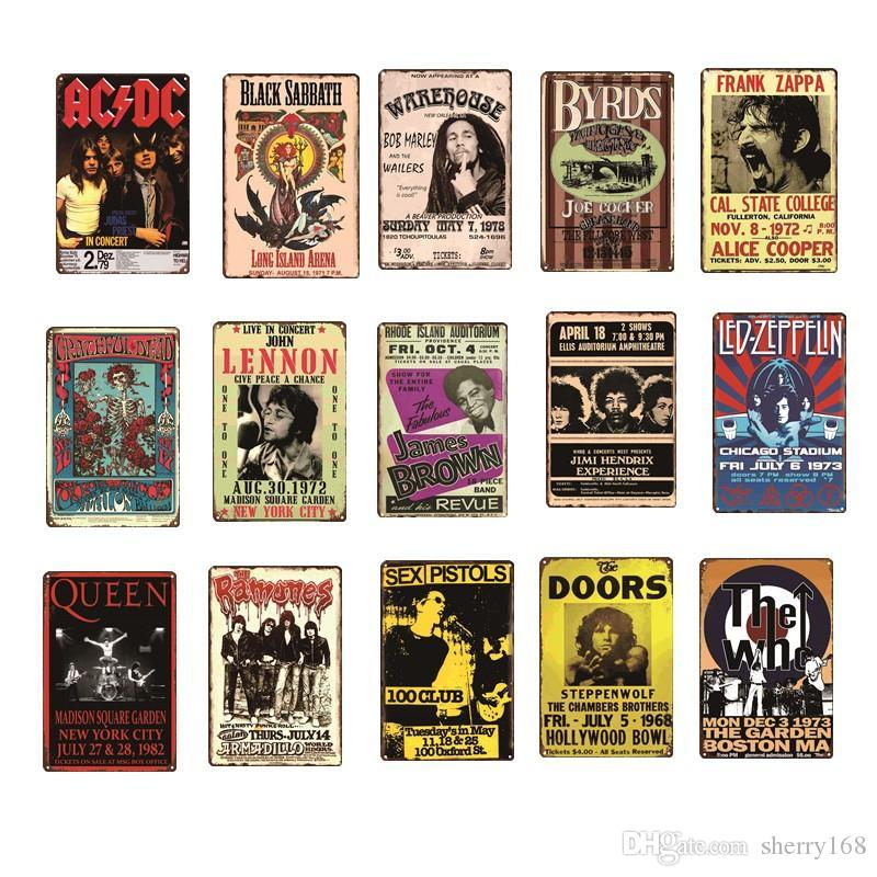 2021 Rock Band ACDC Queen Topo Música Portas Vintage Metal Retrotina Sinal Placa Pintura Antiga Presente Home Bar Pub Presentes Artesanatos Presentes