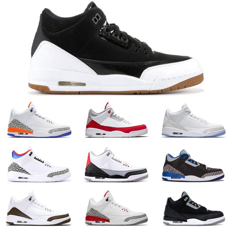 Lobo cinza 3s og 3 homens sapatos de basquete preto cimento gato branco puro verdadeiro azul tinker verde mocha mens instrutor esportes sneakers 7-13