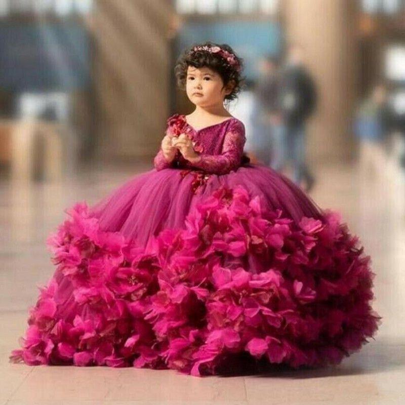 Puf Girls Pageant Elbiseler Küçük Yürüyor El Yapımı Çiçekler Çocuklar Balo Kat Uzunluk Çiçek Kız Elbise Düğünler Için Doğum Günü Partisi Elbise