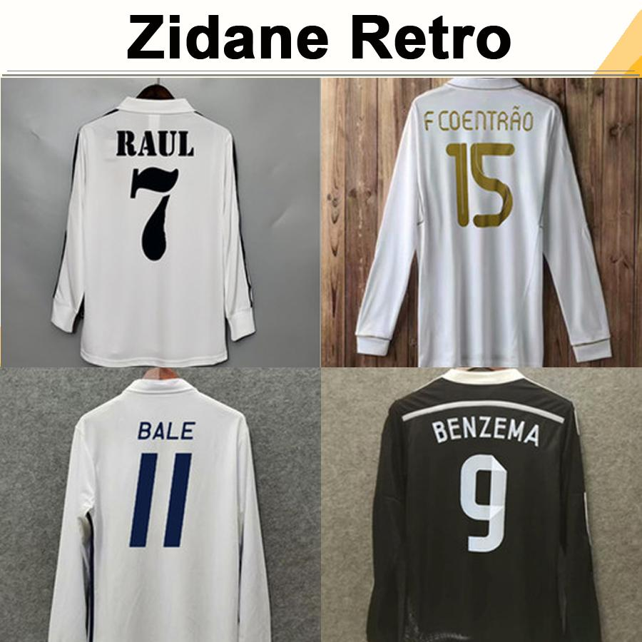 96 97 ZIDANE BECKHAM SEEDORF RAUL Mens RETRO Soccer Jerseys R. CARLOS ALONSO KAKA' SERGIO RAMOS CANNAVARO Long Sleeve Football Shirt