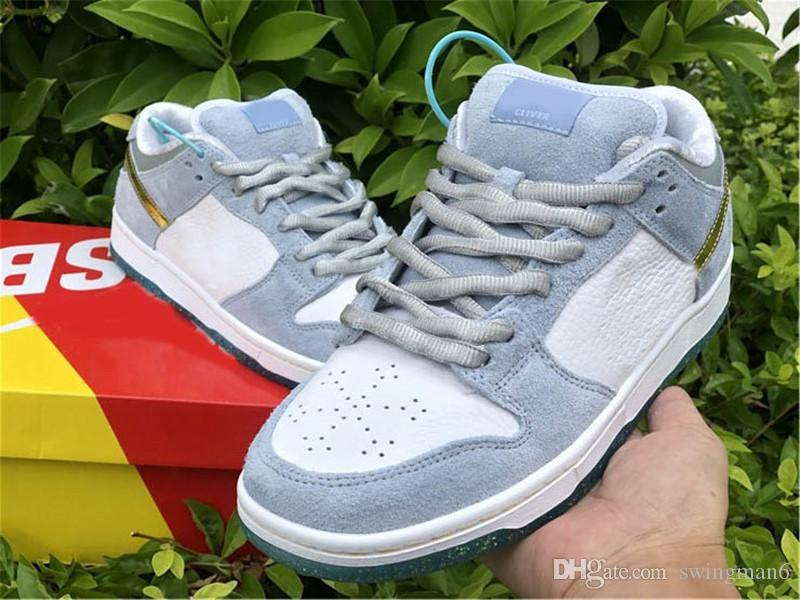 Mais novo Authentic Sean Cliver Dunk SB Baixo Skate Sapatos Branco Psíquico Blue Camurça Sneaker Homens Mulheres Metálicos Ouro Esportes Sapatos Tamanho 36-46
