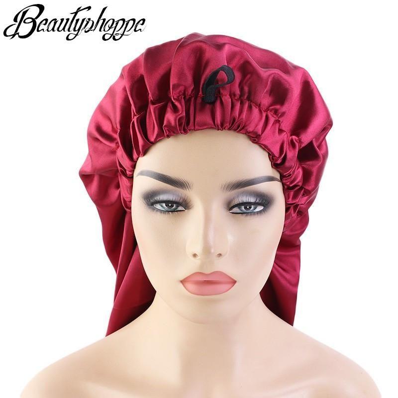طويل المتضخم مرونة الساتان برميل الحرير الشعر بونيه تنفس كاب النوم العمامة النوم أغطية الرأس القبعات للبالغين
