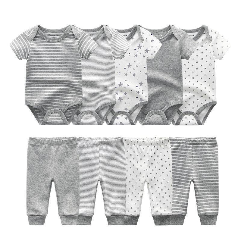 Unisex recién nacido bebé mamelucos niño ropa de manga corta algodón mono de algodón + pantalones largos ropa de niña conjuntos roupas de