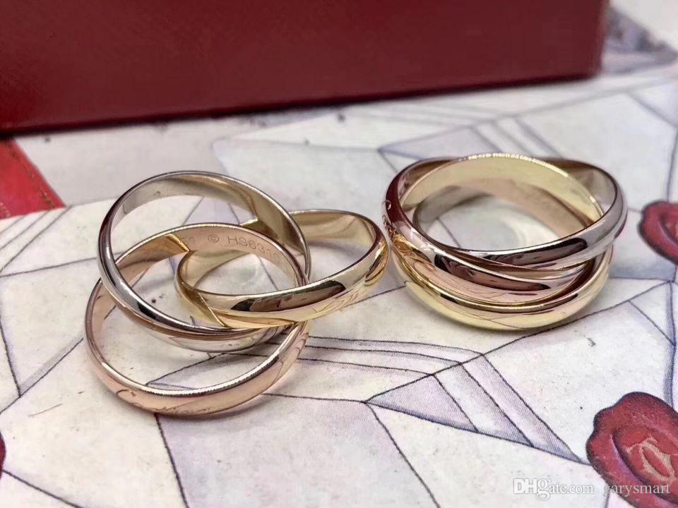Classico anelli a tre anelli per uomo DONNA COPPIA BRAND BRAND Brand Style Style Anelli con tre colori Anelli di lusso in oro rosa