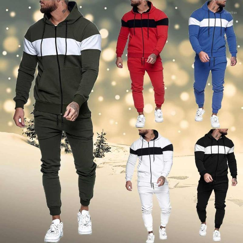 2020 Neue Herbst- und Winter-Men's Sets Hoodies + Hosen Harajuku Sportanzüge Spleißen Reißverschluss Sweatshirt Top Pants Sets Sport Suit1