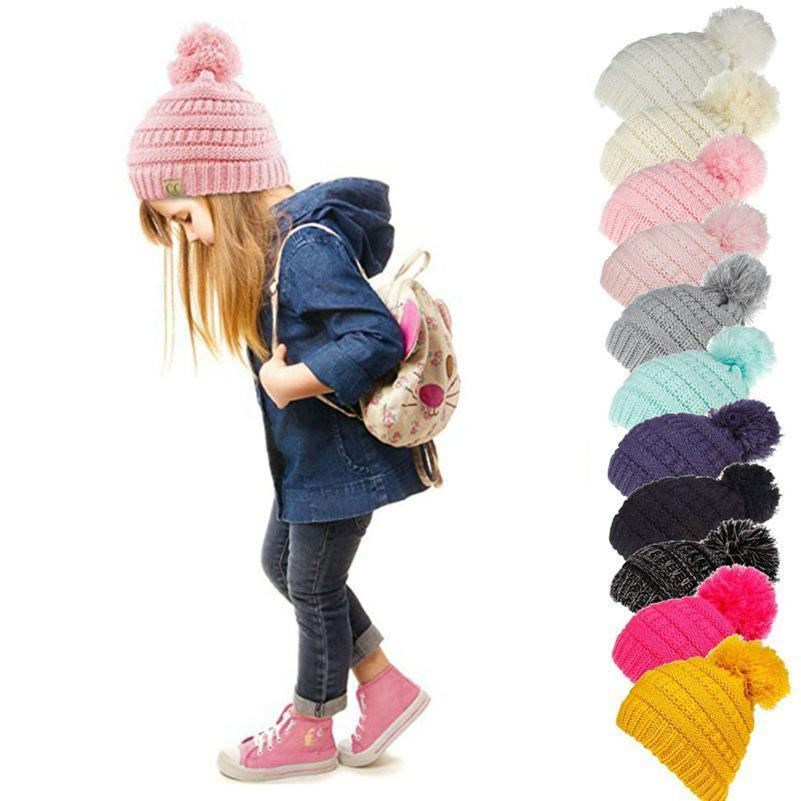 Beanie Kids Knitted Hats Kids Chunky Skull Caps Winter Cable Knit Slouchy Crochet Hats Outdoor Warm Beanie Cap 11 Colors 50pcs Wholesale