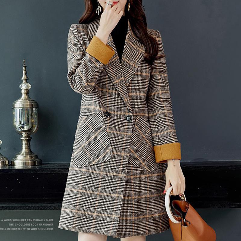 2019 средняя длинная осень зима новая корейский повседневная дикая шерстяная пальто с двубортным костюмом воротник Slim плед женские шерстяные пальто AA26